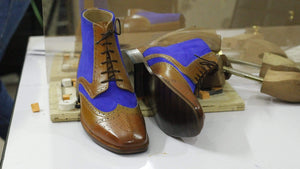 BESPOKESTORES Clothing, Shoes & Accessories:Men's Shoes:Boots Blue & Tan Wing Tip Two Tone Lace Up Leather Chukka Boot