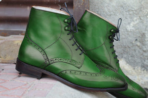 BESPOKESTORES Clothing, Shoes & Accessories:Men's Shoes:Boots Bottle Green Wing Tip Lace Up Brogue Ankle High Boot For Men's Foot Wear