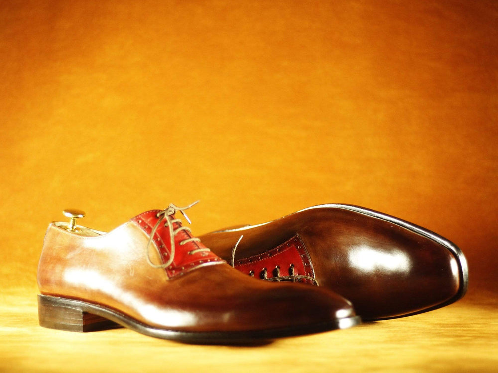 BESPOKESTORES Clothing, Shoes & Accessories:Men's Shoes:Boots Brogue Burgundy & Brown Lace Up Leather Men's Shoes