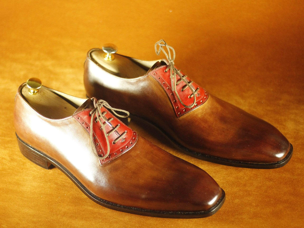 Brogue Burgundy & Brown Lace Up Leather Men's Shoes