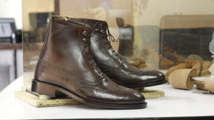 BESPOKESTORES Clothing, Shoes & Accessories:Men's Shoes:Boots Brogue Wing Tip Brown Ankle High Leather Boots For Men's Wear