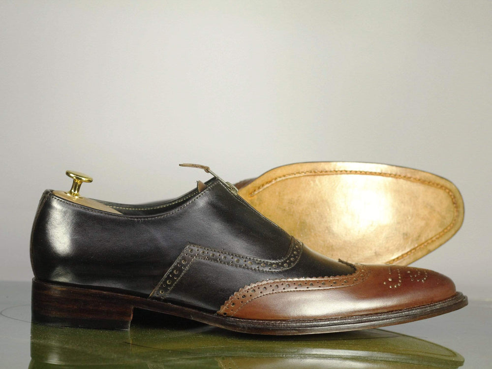 BESPOKESTORES Clothing, Shoes & Accessories:Men's Shoes:Boots Brown Black Brogue Two Tone Wing Tip Lace Up Leather Shoes