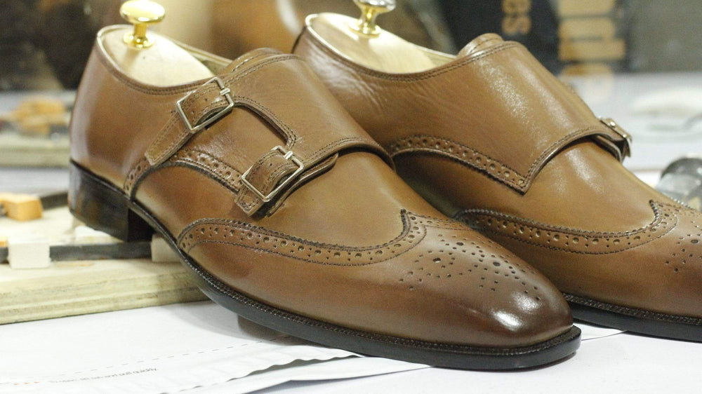 Brown Double Buckle Strap Wing Tip Leather Shoes