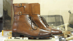 BESPOKESTORES Clothing, Shoes & Accessories:Men's Shoes:Boots Brown Lace Up Double Monk Ankle High Cap Toe  Boot