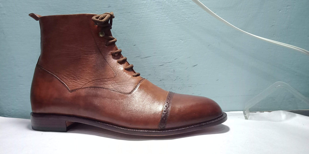 BESPOKESTORES Clothing, Shoes & Accessories:Men's Shoes:Boots Brown Vintage Ankle High Lace Up Cap Toe Leather Stylish Boot