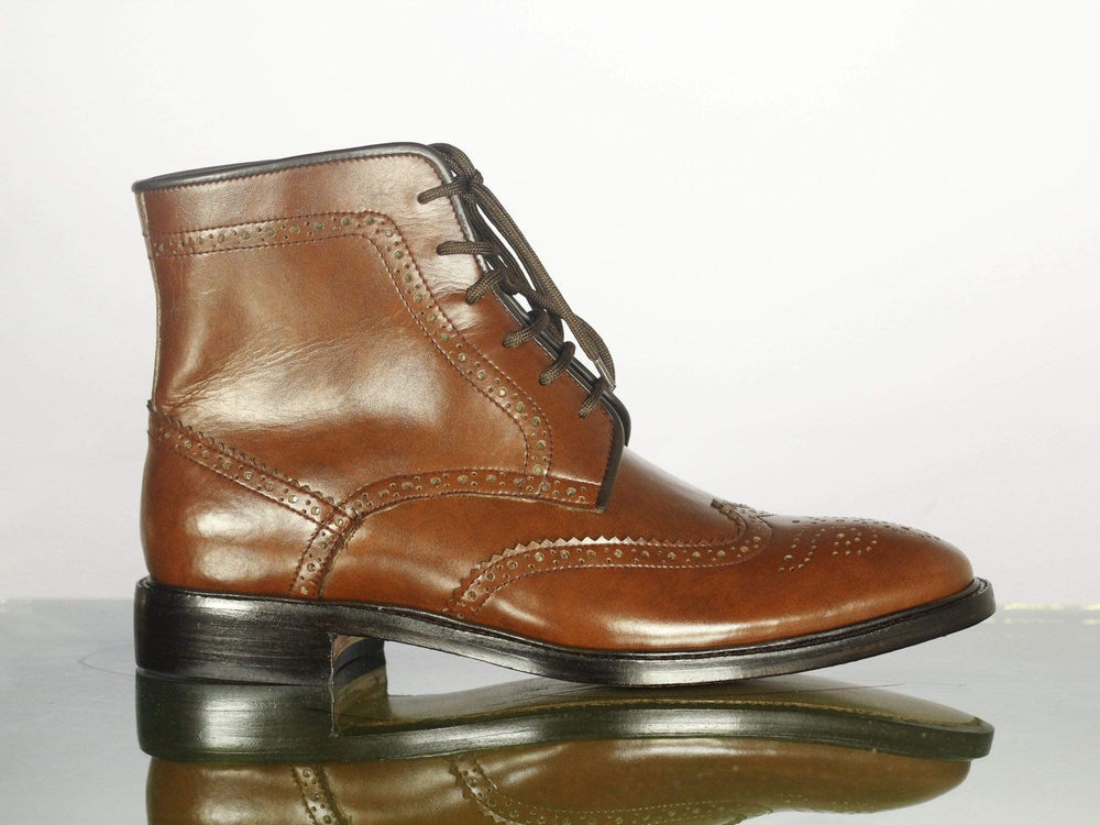 BESPOKESTORES Clothing, Shoes & Accessories:Men's Shoes:Boots Brown Wing Tip Lace Up Brogue Ankle High Leather Chukka Boot