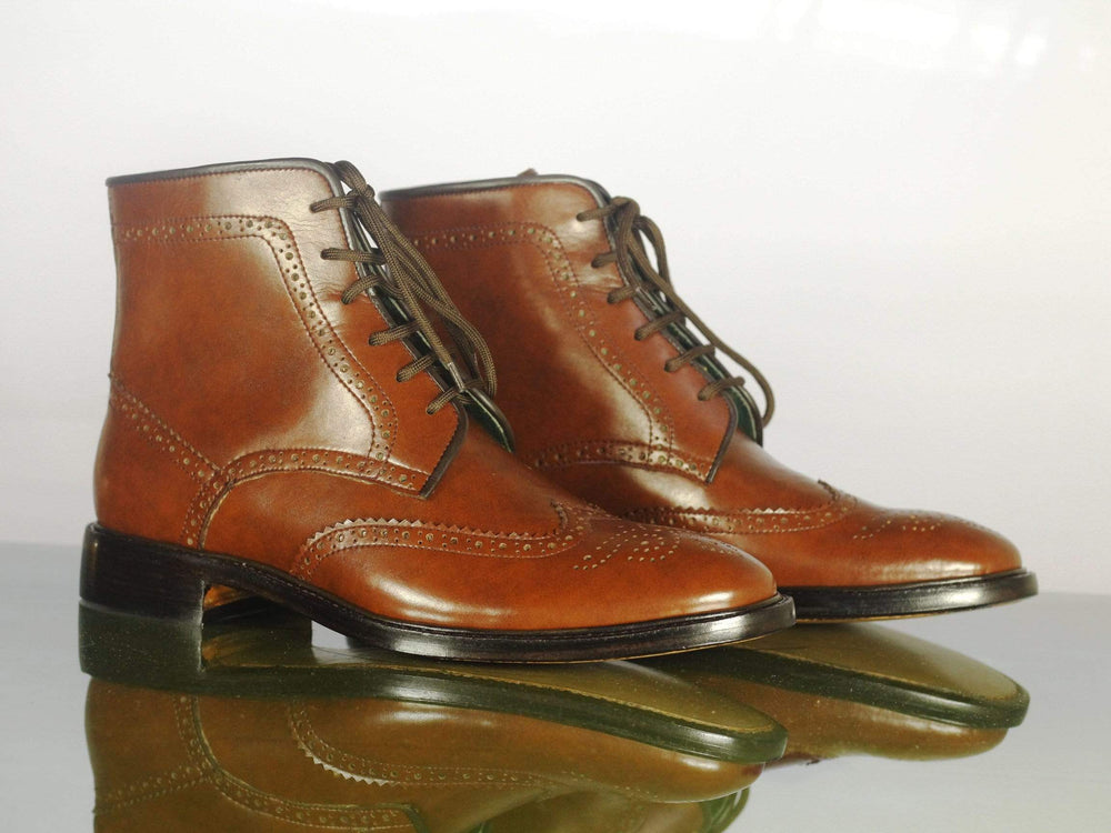 Brown Wing Tip Lace Up Brogue Ankle High Leather Chukka Boot
