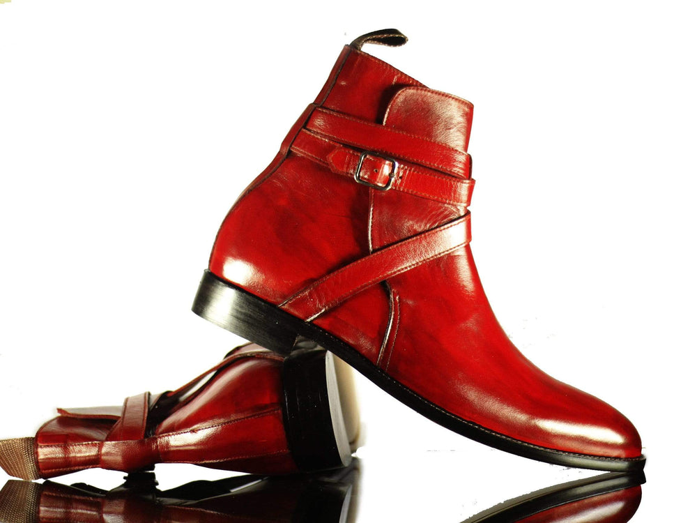 Burgundy Madrid Ankle High Buckle Boot For Men's Stylish Wear