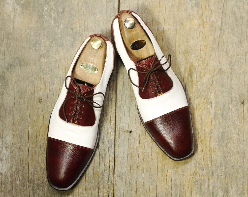 BESPOKESTORES Clothing, Shoes & Accessories:Men's Shoes:Boots Cap Toe Brown & White Alligator Lace Up Leather Shoes