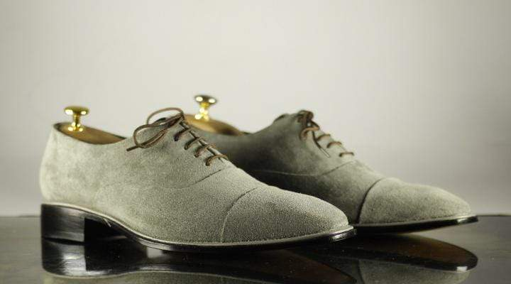 BESPOKESTORES Clothing, Shoes & Accessories:Men's Shoes:Boots Cap Toe Gray Lace Up Leather Suede Men's Shoes
