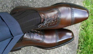 BESPOKESTORES Clothing, Shoes & Accessories:Men's Shoes:Boots Cap Toe Lace Up Coffee Brown Dress Formal shoes For Men