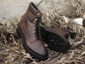 BESPOKESTORES Clothing, Shoes & Accessories:Men's Shoes:Boots Chocolate Brown Men's Ankle Brown Vintage Leather Lace Up Boot