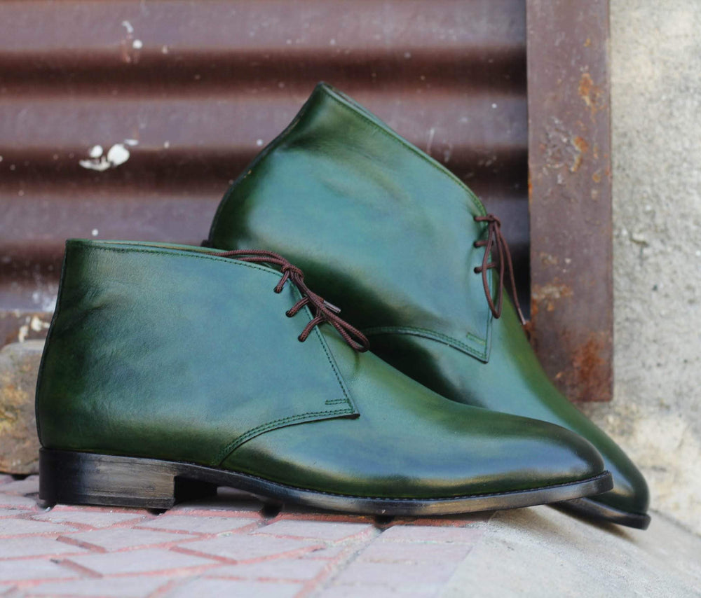 Classical Bottle Green Lace Up Half Ankle Chukka Leather Boot