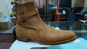 BESPOKESTORES Clothing, Shoes & Accessories:Men's Shoes:Boots Classy Ankle High Jodhpurs Beige Suede Leather Boot For Men