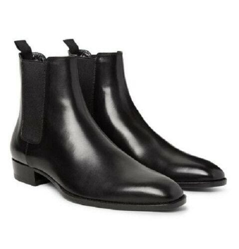 BESPOKESTORES Clothing, Shoes & Accessories:Men's Shoes:Boots Classy Black Ankle High Patent Leather Chelsea Men's Foot Wear