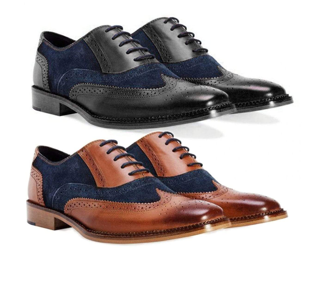 BESPOKESTORES Clothing, Shoes & Accessories:Men's Shoes:Boots Classy Black & Navy Blue Brogue Lace Up Wing Tip Leather Suede Shoes