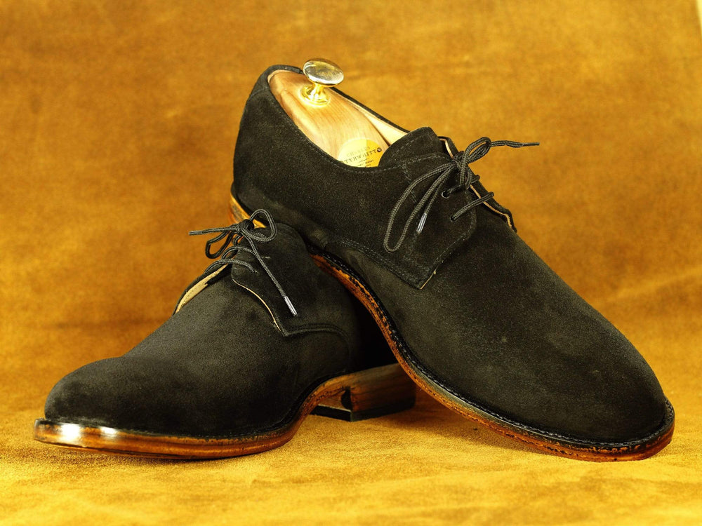 Classy Black Suede Leather lace UP Men's Foot Wear shoes
