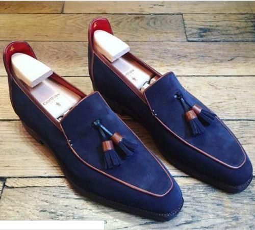 Classy Blue Tasseled Square Toe Leather Suede Moccasin Loafer