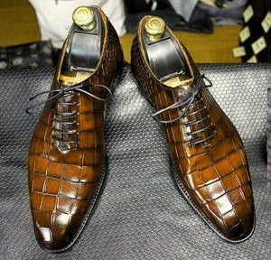 BESPOKESTORES Clothing, Shoes & Accessories:Men's Shoes:Boots Classy Brown Alligator Lace Up Leather Shoes For Men's Foot Wear