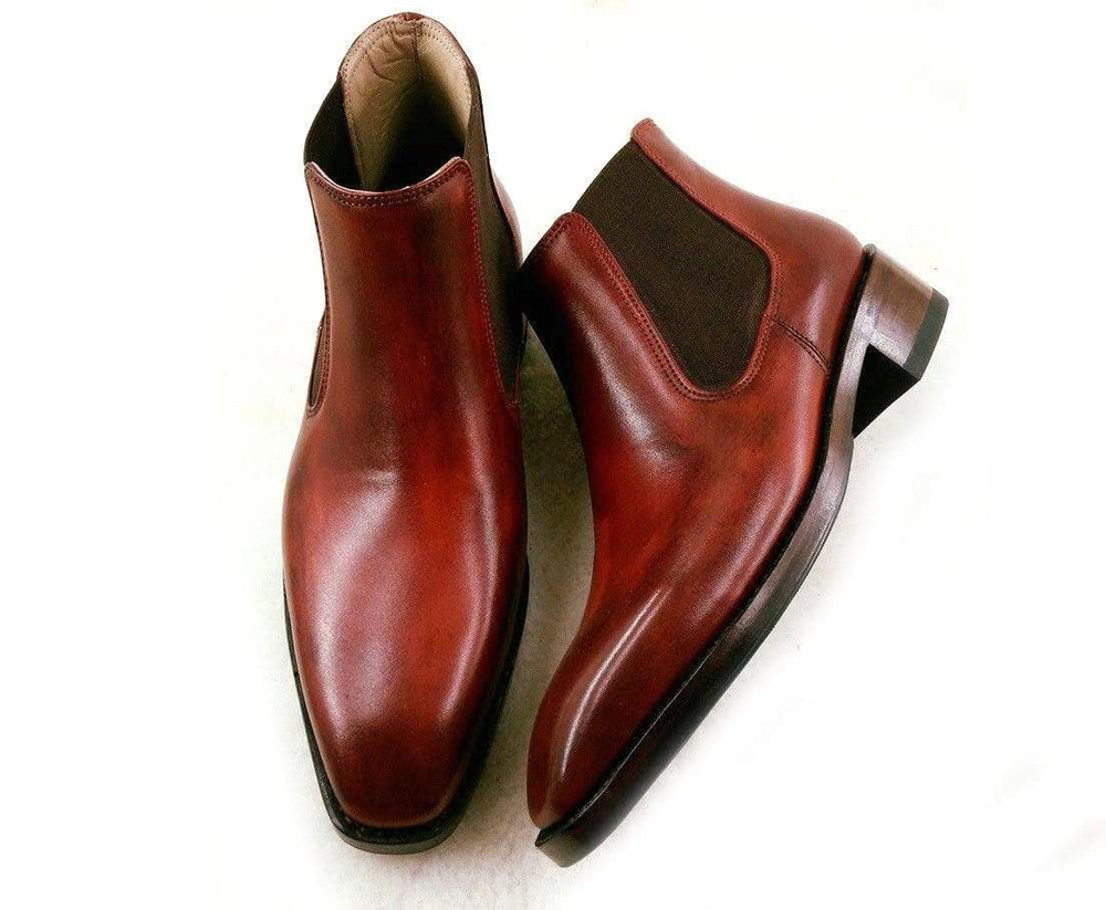 BESPOKESTORES Clothing, Shoes & Accessories:Men's Shoes:Boots Classy Burgundy Ankle High Leather Chelsea Men's Foot Wear