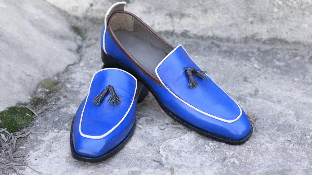 BESPOKESTORES Clothing, Shoes & Accessories:Men's Shoes:Boots Classy Royal Blue Tasseled Slip On Leather Men's Foot Wear Loafers
