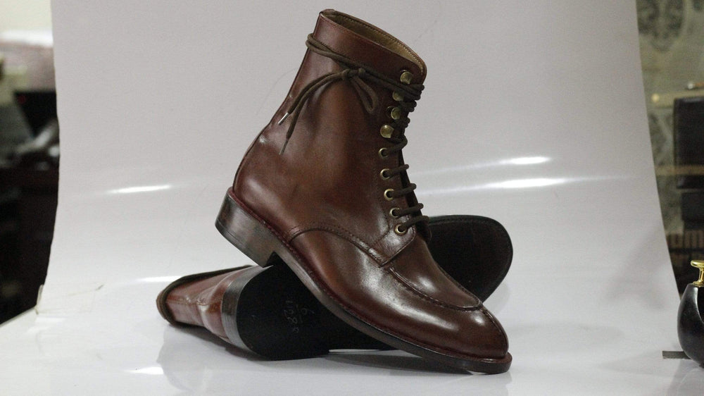 BESPOKESTORES Clothing, Shoes & Accessories:Men's Shoes:Boots Coffee Brown Split Toe Lace UP Ankle High Leather Boot