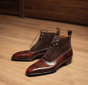 BESPOKESTORES Clothing, Shoes & Accessories:Men's Shoes:Boots Cordovan Ankle High Lace Up Cap toe Leather Suede Boot
