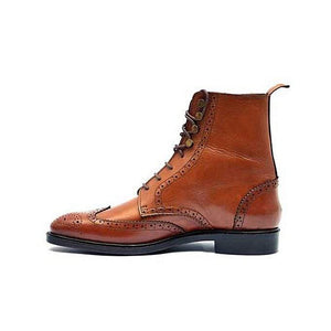 BESPOKESTORES Clothing, Shoes & Accessories:Men's Shoes:Boots Customized Wing Tip Brown Ankle High Brogues Dress Formal Leather Boots