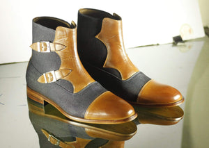BESPOKESTORES Clothing, Shoes & Accessories:Men's Shoes:Boots Denim Tan Double Buckle Ankle High Cap Toe Leather Boot