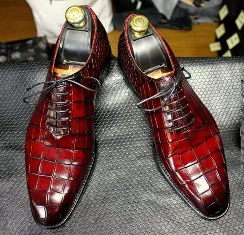 BESPOKESTORES Clothing, Shoes & Accessories:Men's Shoes:Boots Designer Burgundy Alligator Leather Lace Up Shoes For Men's Foot Wear