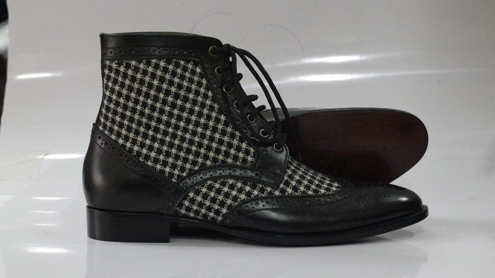 Designer Tweed Black Leather Chukka Wing Tip Lace UP Oxford Boot