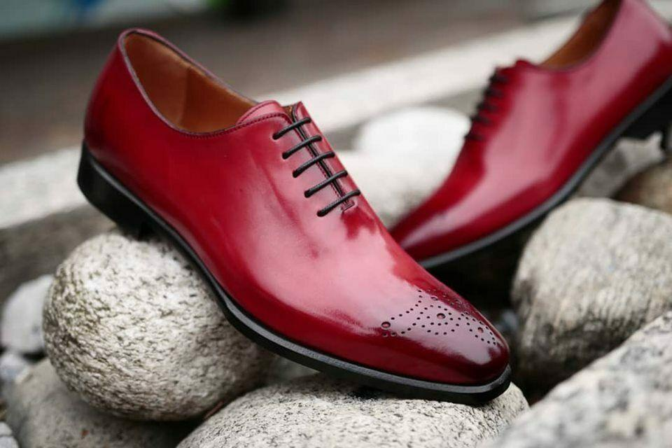 BESPOKESTORES Clothing, Shoes & Accessories:Men's Shoes:Boots Dress Formal Patent Burgundy Leather Lace Up Shoes