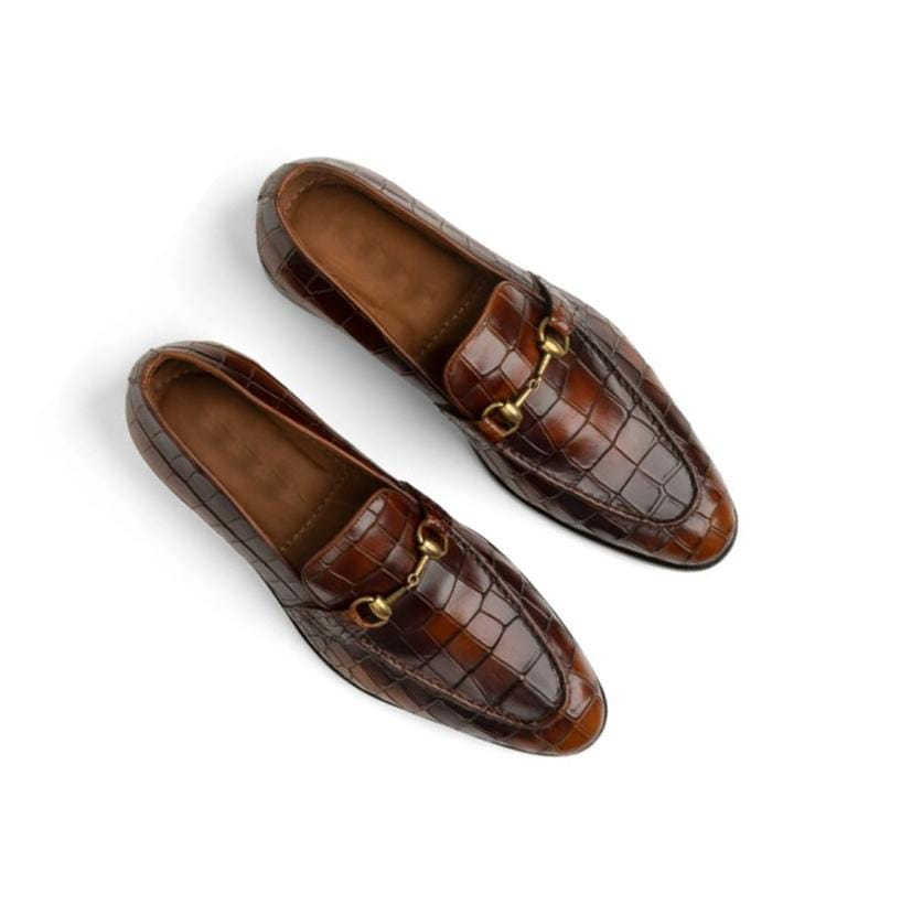 BESPOKESTORES Clothing, Shoes & Accessories:Men's Shoes:Boots Elegant Brown Alligator Texture Slip On Leather Loafers