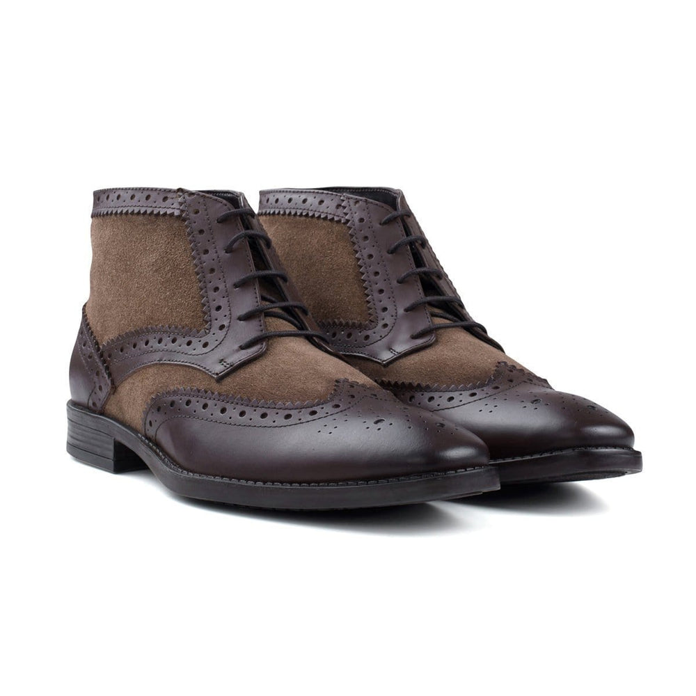 BESPOKESTORES Clothing, Shoes & Accessories:Men's Shoes:Boots Formal Dress Half Ankle Cordovan & Brown Wing Tip Lace Up Leather Boot