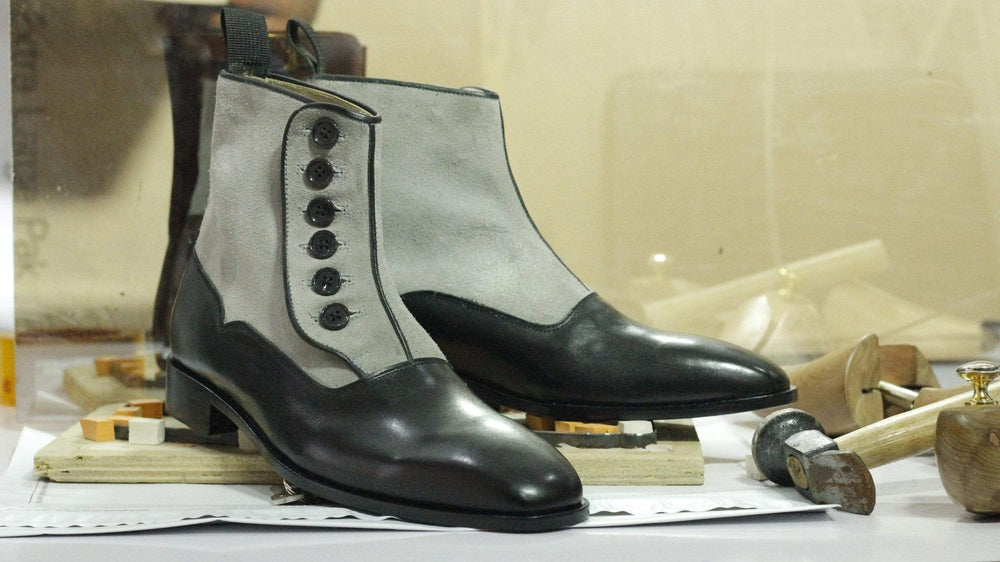 Gray Black Button Top Leather & Suede Men's Dress Boots