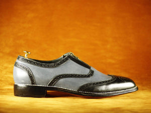 BESPOKESTORES Clothing, Shoes & Accessories:Men's Shoes:Boots Gray Black Casual Leather Front Zipper Cuts Out Men's Brogue Shoes