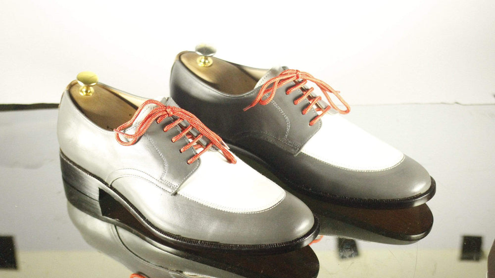 BESPOKESTORES Clothing, Shoes & Accessories:Men's Shoes:Boots Gray White Round Toe Lace Up Leather Men's Foot Wear