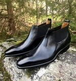 BESPOKESTORES Clothing, Shoes & Accessories:Men's Shoes:Boots Half Ankle Black Patent Leather Chelsea Boot For Men