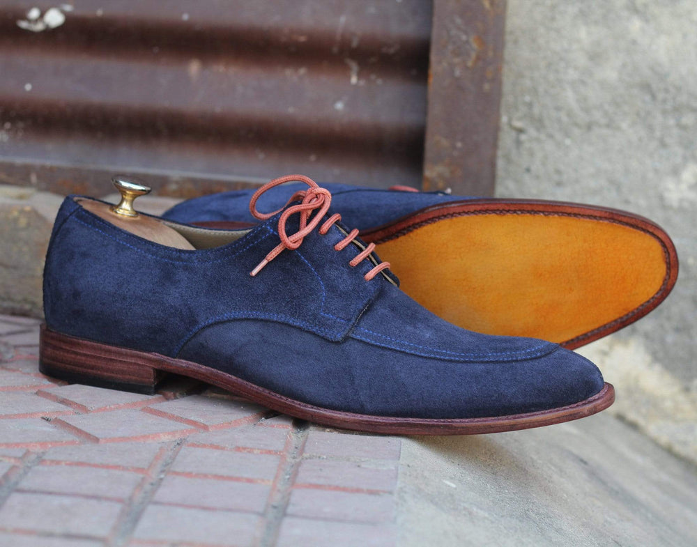 BESPOKESTORES Clothing, Shoes & Accessories:Men's Shoes:Boots Hand Crafted Navy Blue Lace Up Round Toe Suede Leather Shoes