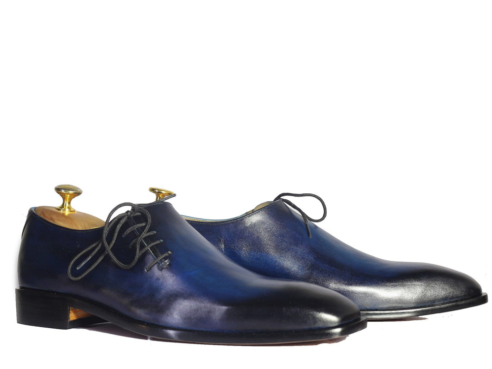 BESPOKESTORES Clothing, Shoes & Accessories:Men's Shoes:Boots Hand Crafted Whole Cut Blue Side Lace Up Leather Shoes For Men
