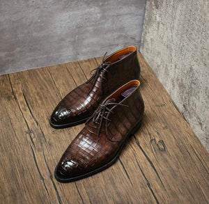 BESPOKESTORES Clothing, Shoes & Accessories:Men's Shoes:Boots Hand Painted Brown Alligator Texture Leather Chukka Boot
