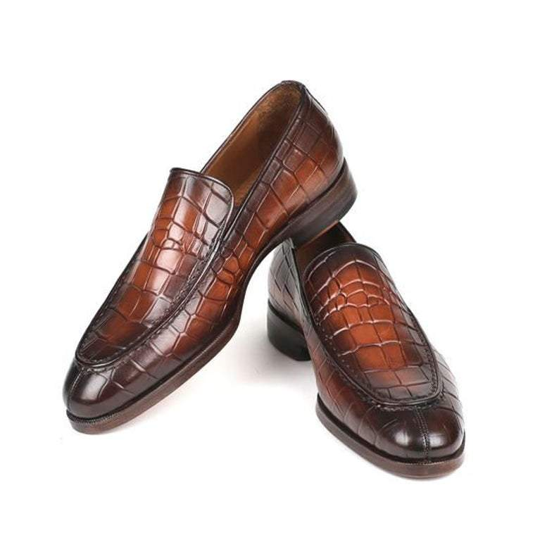 BESPOKESTORES Clothing, Shoes & Accessories:Men's Shoes:Boots Hand Painted Brown Round Toe Alligator Texture Leather Penny Loafers