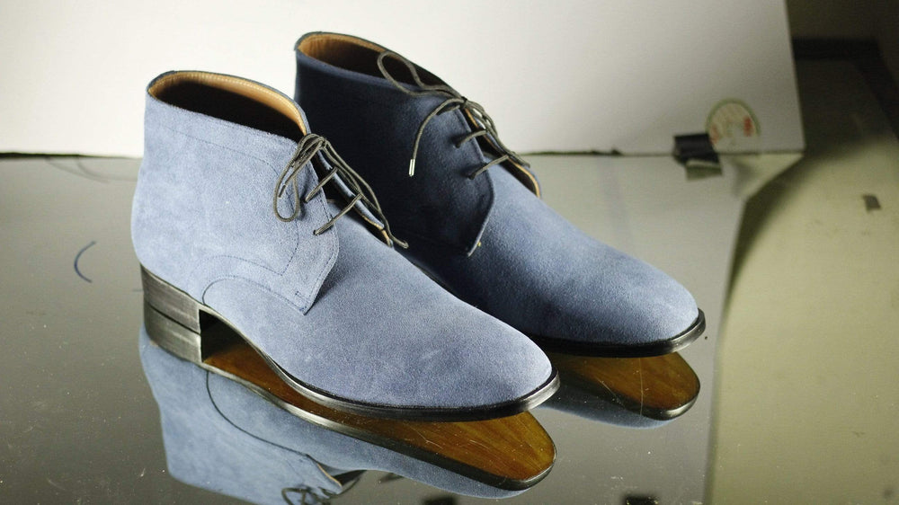 Hand Painted Stylish Blue Lace Up Leather Suede Chukka Boot