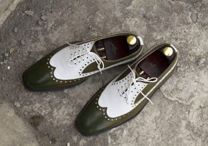 BESPOKESTORES Clothing, Shoes & Accessories:Men's Shoes:Boots Hand Painted Two Tone Brogue Wing Tip Lace Up Leather shoes