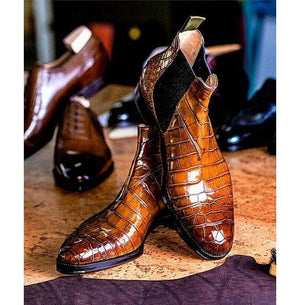 BESPOKESTORES Clothing, Shoes & Accessories:Men's Shoes:Boots Handmade Ankle High Alligator Texture Chelsea Leather Boot