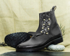 BESPOKESTORES Clothing, Shoes & Accessories:Men's Shoes:Boots Handmade Ankle High Black Side Lace Up Leather Boot