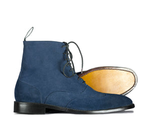 BESPOKESTORES Clothing, Shoes & Accessories:Men's Shoes:Boots Handmade Ankle High Lace Up Blue Leather Suede Boot
