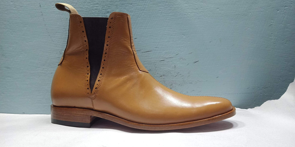 BESPOKESTORES Clothing, Shoes & Accessories:Men's Shoes:Boots Handmade Ankle High Tan Chelsea Leather Boot For Men