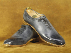 Handmade Black Brogue Lace Up Leather Shoes, Men's Formal Dress Shoes
