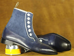 Handmade Blue Cap Toe Button Top High Ankle Leather Suede Boot, Men's Oxford Boot